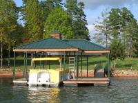 26'x28' Slip Dock w/Hip-Plus Roof and Ironwood Wrapped and Painted Surfaces